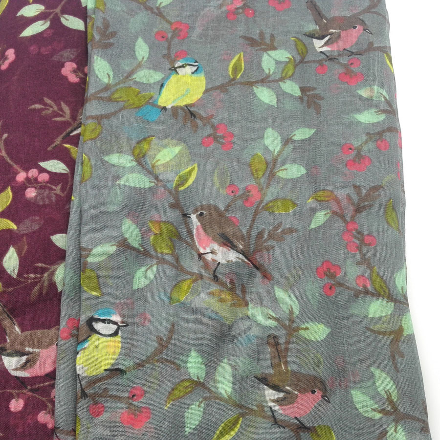 2020 Women Viscose Scarf Lovely Animal Bird On Tree Pattern Shawl Print Voile Wrap Newborn Scarves Autumn Winter Hijab Sjaal