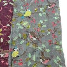 2020 Women Viscose Scarf Lovely Animal Bird On Tree Pattern Shawl Print Voile