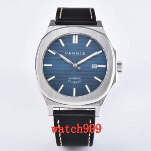 Image 3 - NEW 45mm PARNIS miyota mens watch Blue dial Sapphire Crystal Leather strap Luminous Mechanical Automatic Mens Watch