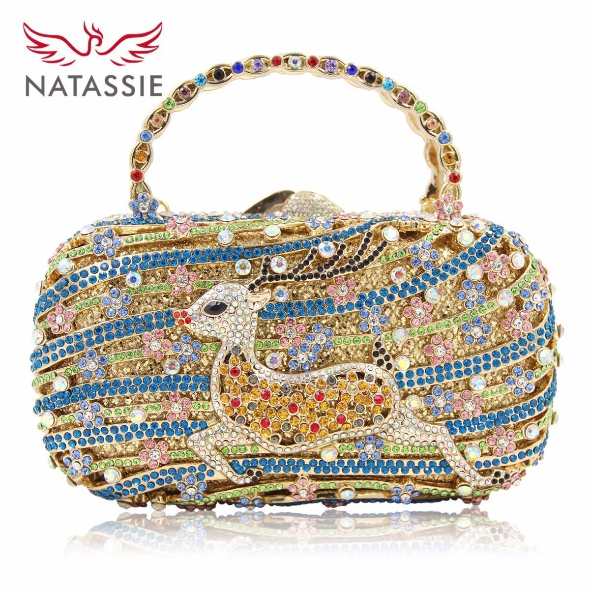 NATASSIE Exquisite Sika Deer Crystal Clutch Long Chain Multi Flower Color Handbag Ladies Meeting Purses Girls Party Bag