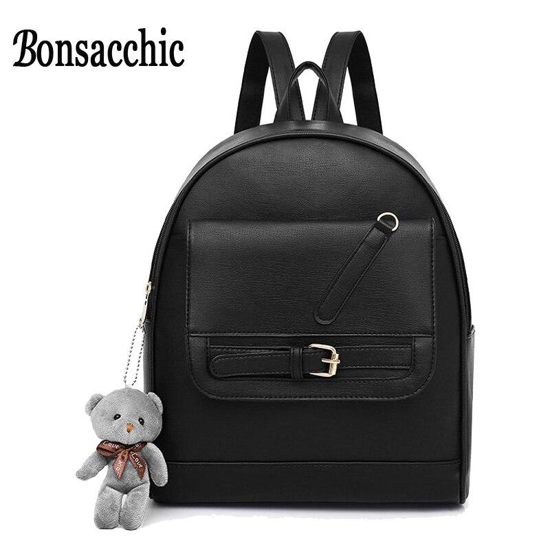 Bonsacchic Black Laptop Backpack Women Big Backpack PU Leather Rucksack for Teenage Girls School Bags Female Back Pack Mochila