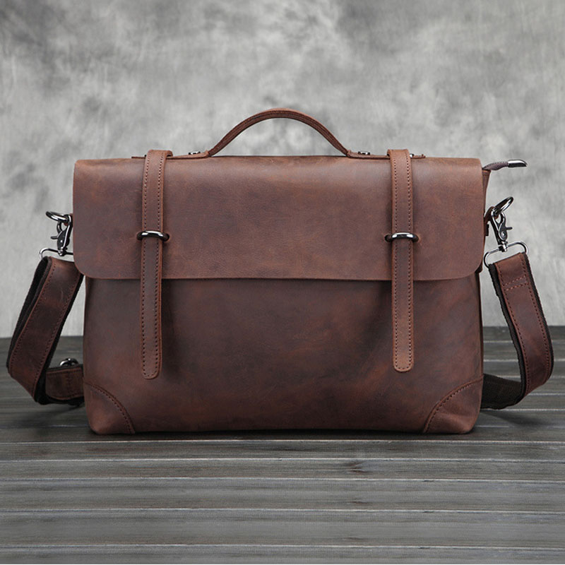 BULL CAPTAIN Crazy Horse Cowhide Cross Body famous brand Briefcase Handbag High Quality Messenger Shoulder Bag Leather Bag цена и фото