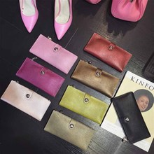 women Genuine Leather rivet Wallet Women High Quality Soft Long Purse Fashion Female Wallets Card Holder women's leather wallets