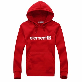 Element Print Solid Fleece Hoodies 1