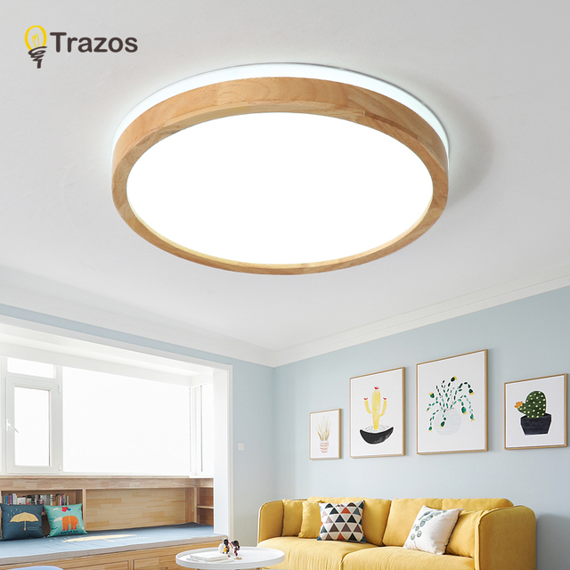TRAZOS 220V LED Ceiling Lights Wooden Rectangle Ceiling Mounted Lamp For Living Room Round Ceiling Lamps Modern Wood Lightings