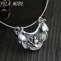 Retro Thai Silver Carved Lotus And Double Fish Pendant 999 Sterling Silver New Year Wish Harvest