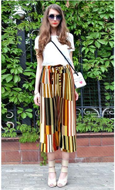 High quality fashion bohemian vintage sexy print floral patchwork bow pleated empire linen ankle-length chiffon women pants 3N19