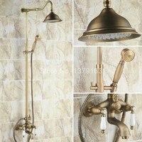 Luxury Bathroom Rain Shower Faucet Set Antique Brass Handheld Shower Head Two Ceramics Lever Bathtub Mixer Tap ars241