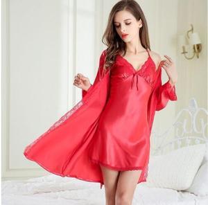 Image 5 - 2018 New Lace Stitch Long Nightgown Robe Set Women Elegant Silk Bathrobe Pajamas Long Sleeve Ladies Cute Sexy Lingerie Nightwear