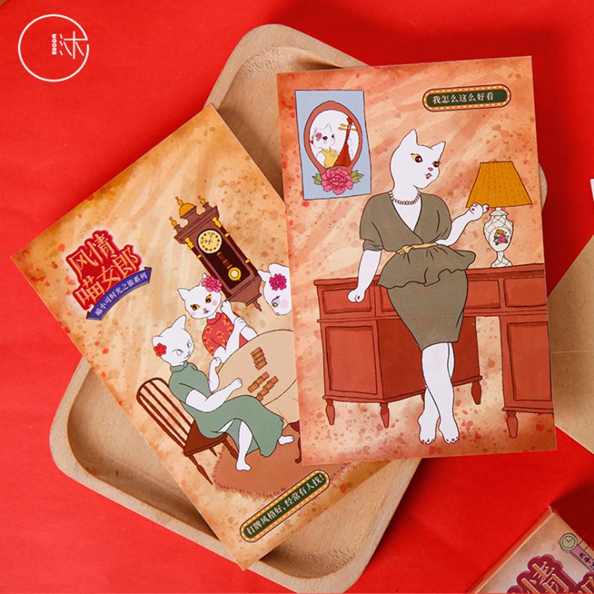 30 Pcs/lot Kawaii Girl Cat Style Greeting Card Postcards Birthday Gift Greeting Card Fashion Gift Office School Supplies