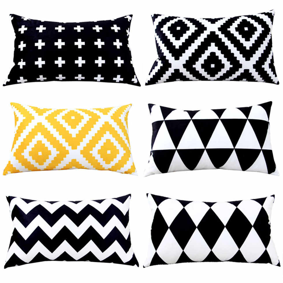 rectangle decorative pillow case nordic style throw pillow cover black white cushion cover geometric cushions home decor