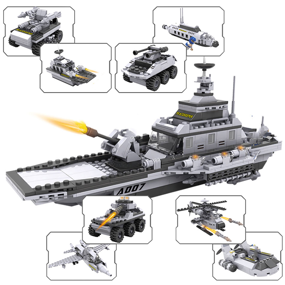 743pcs 8 in 1 City Police Station Series Building Blocks fit Trucks Car Helicopter Boat Figures Swat Ship Navy Bricks Toy in Blocks from Toys Hobbies