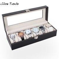6 Slots Horloges Sieraden Display Organizer Leather Box Case Cajas Para Joyas