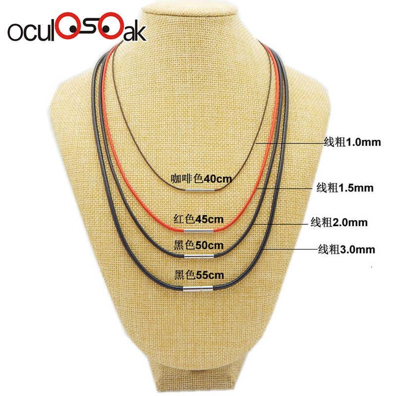 1-3mm czarny skórzany naszyjnik ze sznurka przewód wosk liny koronka z łańcuszkiem z obrotowy, ze stali nierdzewnej zapięcie dla DIY naszyjniki biżuteria 40-80cm