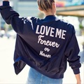 2016 Winter Autumn Womens Bomber Jacket Embroidery Letter Navy Blue Loose Casual Street Style Ladies Baseball Coats Haoduoyi