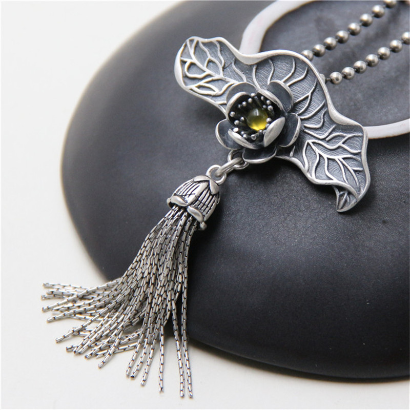 JINSE S925 Sterling Silver Lotus Leaf Tassel Pendant Natural Handmade Fine Jewelry Ethnic Long Tassel Pendant Without Necklace stylish rose leaf tassel voile scarf