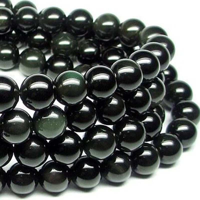 Natural Stone Black Rainbow Obsidian Bracelet Man Women 108 Beads Stretch Bracelets 6mm Fashion Buddha Rosary Buddhist For Lover