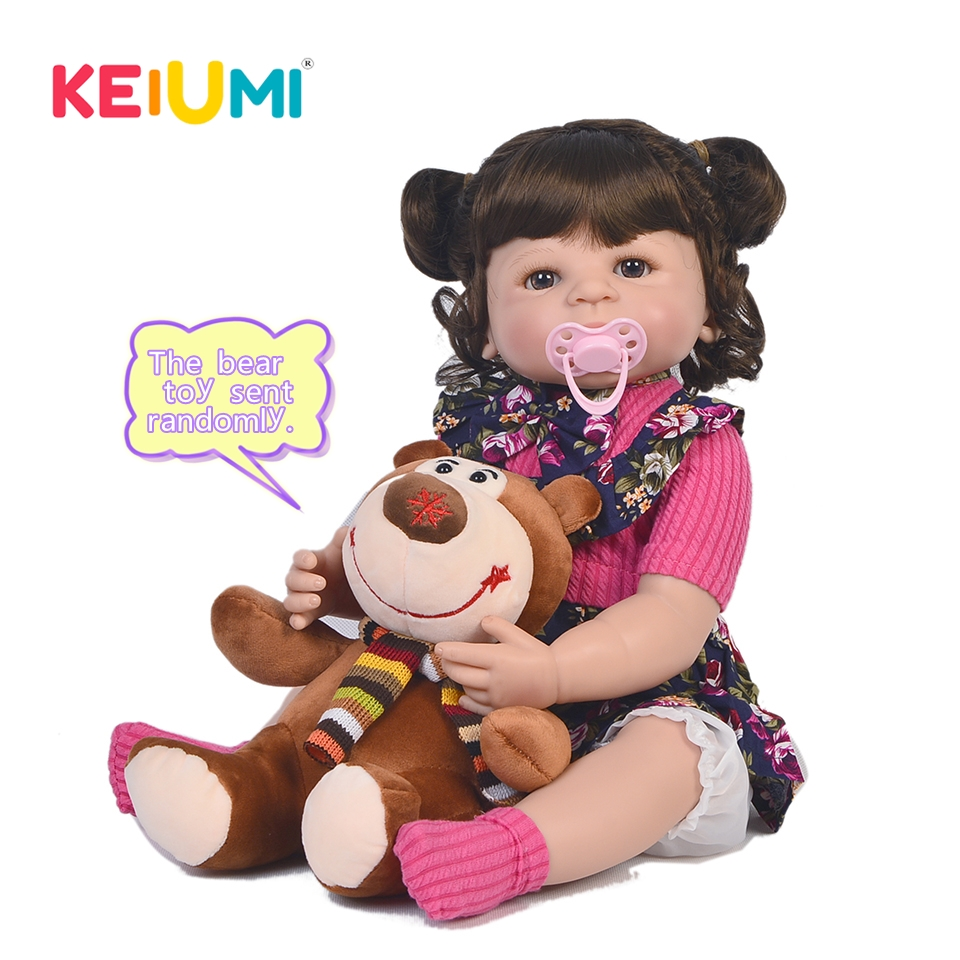 KEIUMI 23'' Reborn Baby Full Body Silicone Fashion DIY Toys Truly Princess With Bear Playmates Baby Doll For Kids Boneca Reborn keiumi 23 babies girl reborn baby doll full body silicone vinyl realistic 57 cm princess new born boneca reborn boneca gifts