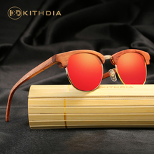 KITHDIA Handmade Polarized Eyewear Items Sunglasses Bamboo Half Wooden Frame for Women With Gift Box #KD041