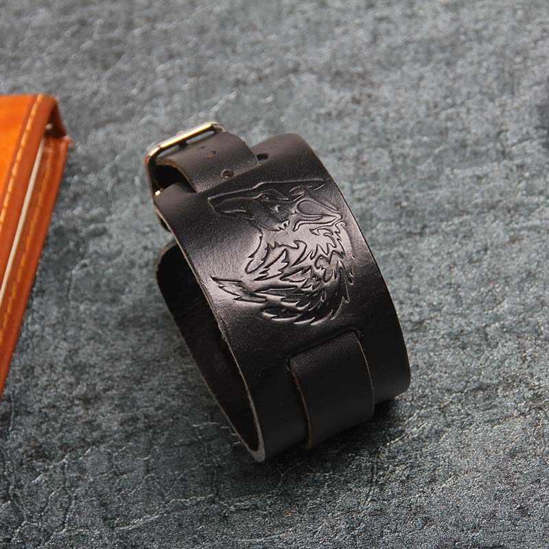 2019 Винтажный Мужской черный коричневый кожаный браслет с головой волка мужские отпечатанные широкие браслеты на запястье панк украшения в стиле рок