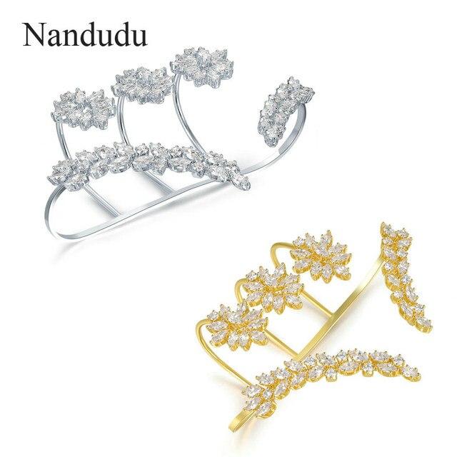 Nandudu Woman Palm Bracelet  GP New Arrival Hand Cuff Bangle Female Wedding Party Jewelry Gift R1116 R1178