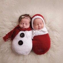 Newborn Boys Girls Photography Props Crochet Knitting Costume Christmas Snowman Hat+Sleeping Bag Photo Wrap Matching Accessories