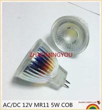 YON 10PCS New Arrival MR11 110V 220V COB Led Spotlight Glass Body GU4 Lamp Light AC/DC 12V MR11 5W LED Bulb Warm White /  white