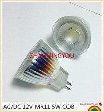 Yon 10 Chiếc Mới Xuất Hiện MR11 110V 220V COB Đèn Trợ Sáng Thân Kính GU4 Đèn Ánh Sáng AC/ DC 12V MR11 Bóng Đèn LED 5W Trắng Ấm/Trắng