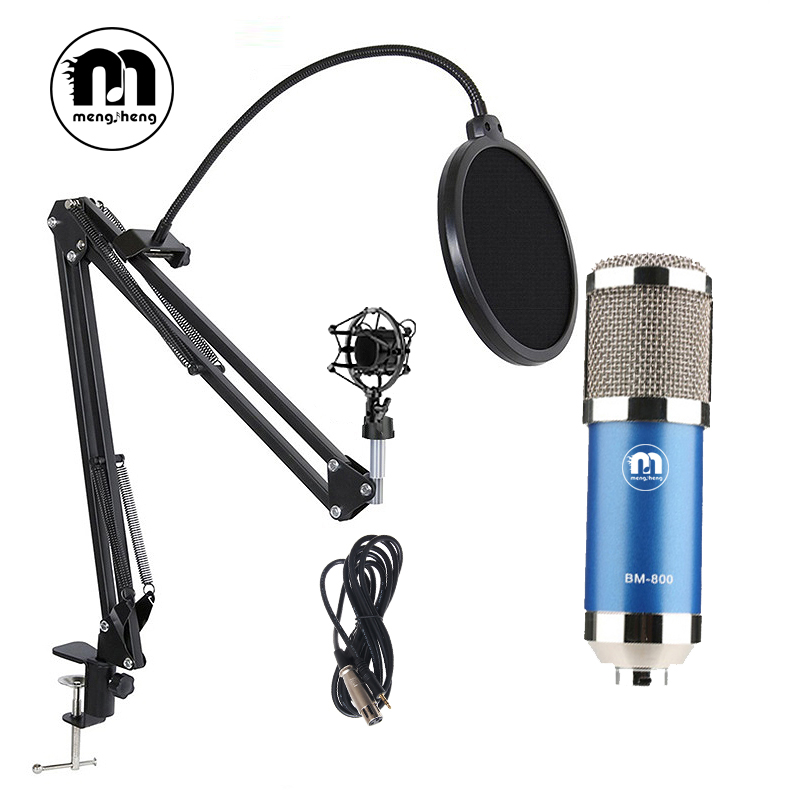 BM800 Studio Microphone Sets for Computer USB Condenser Microphones for Audio Recording with Shock Mount Audio Cable Mic Stand микрофон blue microphones yeti usb