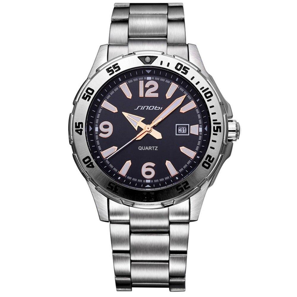 SINOBI Business Men Watches Leisure Luminous Hands Big Arabic Number Display Calendar Wristwatch Father Gift Relogio Masculino