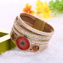 3 Style Texture Pattern Newest Top Quality Elegant Crystal Charm Multilayer Leather Magnet Buckle Bracelets For Woman