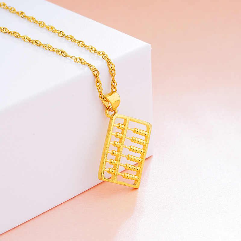 Vamoosy 24 K Warna Emas Liontin Tembaga Abacus BoHo Perhiasan Gaya Cina Keberuntungan Geomantic Omen untuk Wanita Pria Anak Pecinta hadiah