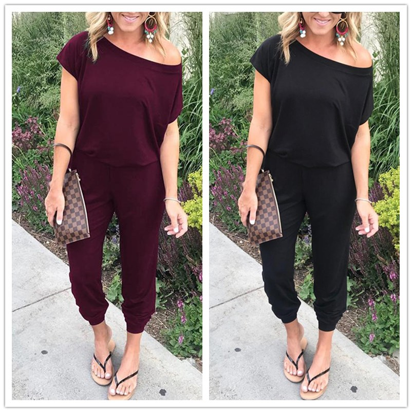overalls for women Spring Summer 2019 New Casual Short Sleeve Female   Jumpsuit   Sexy Off Shoulder women's overall   Jumpsuit   Rompers