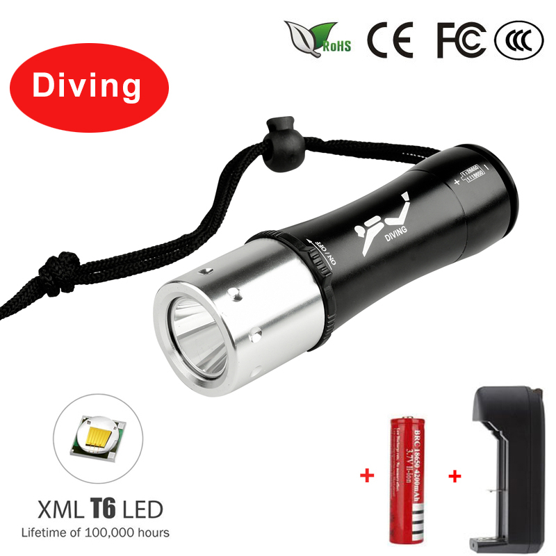 5000Lm XM-L T6 Waterproof Diving Flashlight Dive Underwater 80 Meter LED Torch Lamp Light Camping Lanterna use 18650 Battery