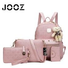 JOOZ Brand Luxury Women Handbag 4 Pcs Composite Bag Set Vintage Female Messenger Bags Lady Shoulder Bag Purse Wallet Card Pocket