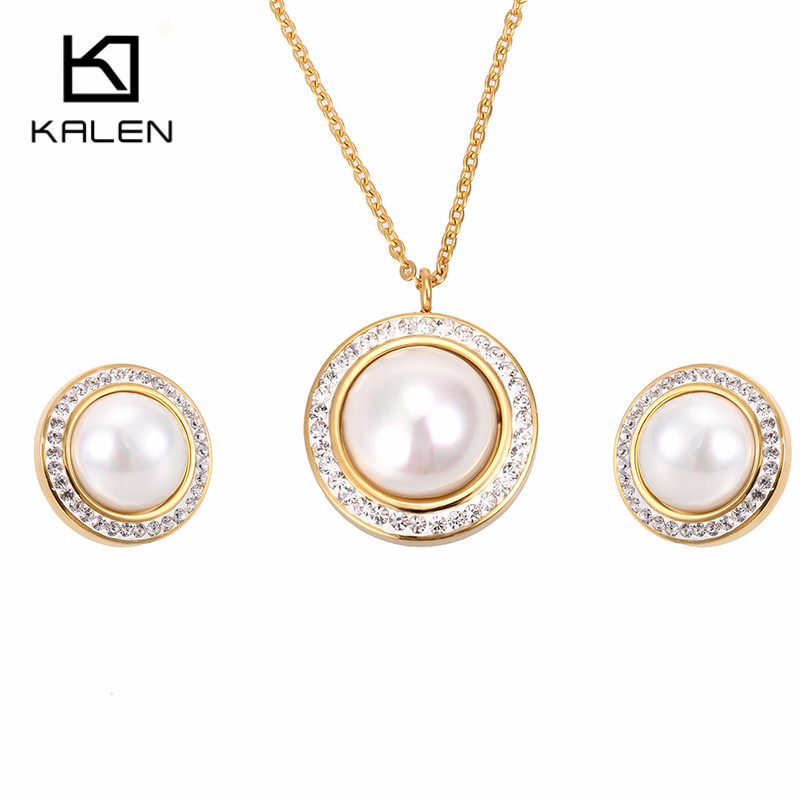 Kalen New Arrival Cheap Jewelry Set Gold Color Trendy Women Accessories Rhinestone Round Simulated-pearl Necklace & Earrings Set