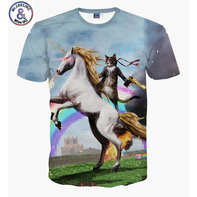Mr.1991INC Tshirt for Men Fashion Brand Short Sleeve Cat Knight Horse 3D T Shirt Men 2018 New Men and Women Clothes Top Dress