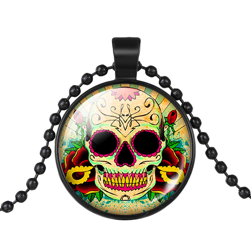 Halloween Steampunk 3 Colors Sugar Skull Pocket Necklace Mexican Skull Pendant Day Dead Men's Charm Accessories