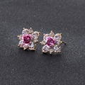 Free Shipping 2016 New Arrival Fashion Statement Jewelry Gold Plated Flower Rose Crystal Stud Earrings For Women e0155