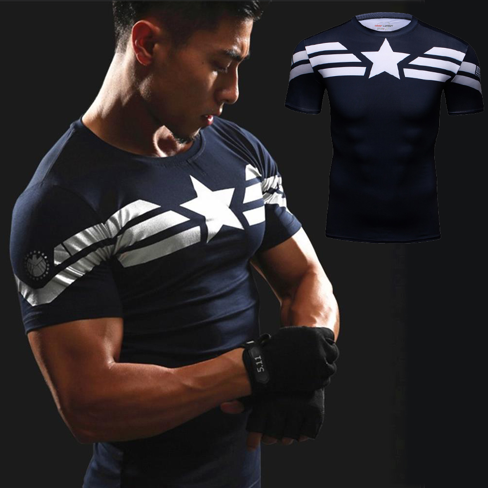 все цены на Crossfit T Shirt 3D Print Captain America Sport T-Shirt Gym MMA Men Run Short Sleeve Top Compression Shirt Superman Punisher Tee