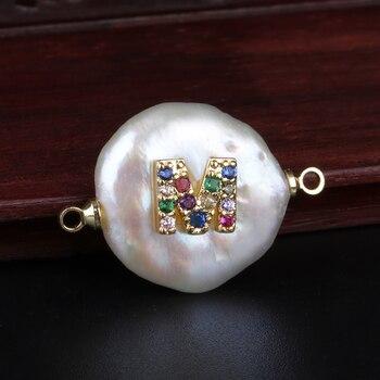 Arcoíris cz pequeña inicial 26 letras del alfabeto moneda perla abalorio conector para pulsera joyería para cumpleaños y boda