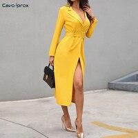 Women Solid Self Belted Slit Elegant Blazer Dress Office Lady Sheath Button Design Ankle Length V Neck Streetwear Fashion Dress