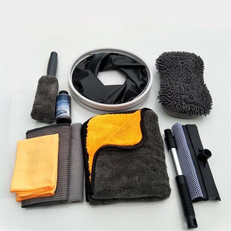 Автомобильный набор для мойки полировки полотенец Авто чистящий набор ведро для воды щетка для шин моющая перчатка губка скребок для окон набор для автомобильного обслуживания X16