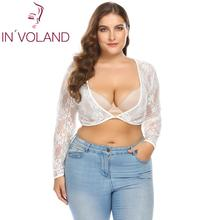 INVOLAND Plus Size Crop Women T-shirts V-Neck Long Sleeve See-through Floral Large size Tee Slim Lace Summer Autumn 2018 Fashion plus size cowl neck long sleeve tee