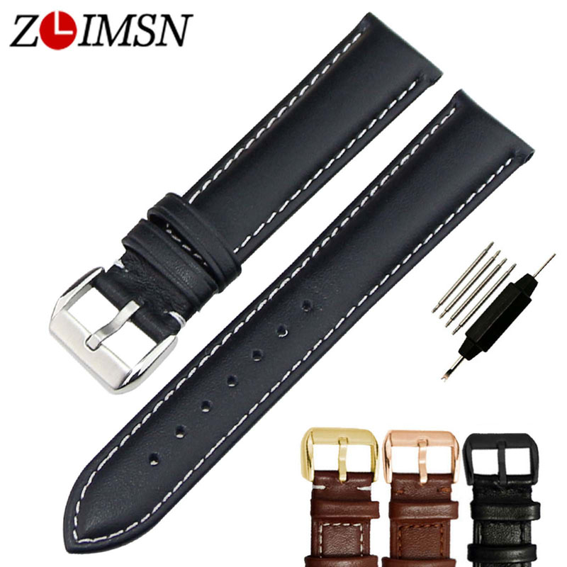 ZLIMSN Men's Genuine Leather Watchband 18 20 22 24mm Black Brown Straps Soft Smooth Watch Bands Wristband Stainless Steel Buckle цена и фото
