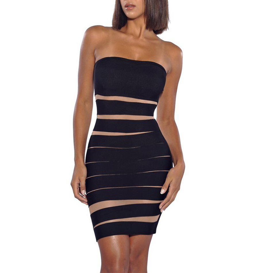 Adyce Bodycon Black Bandage Dress Women Vestidos 2019 New Summer Strapless Black Apricot Club Dress Mini