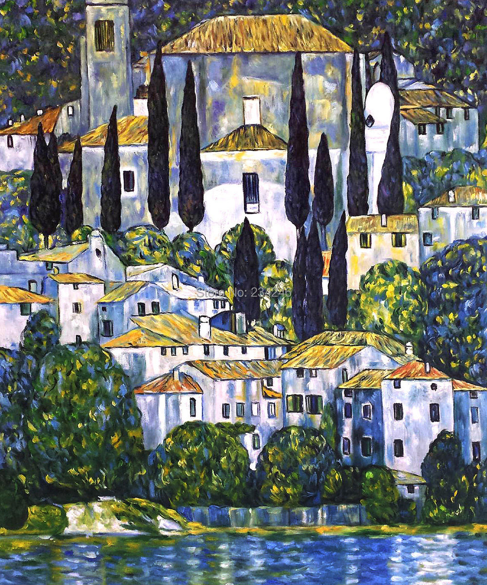 Handmade Canvas Art Painting Reproductions Kirche in Cassone, Church in Cassone (Landscape with Cypress) Gustav Klimt Painting