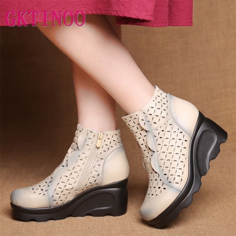 GKTINOO New Women s Summer Boots Retro Genuine Leather Wedges Cutout Ankle Boots Ladies Dress Casual