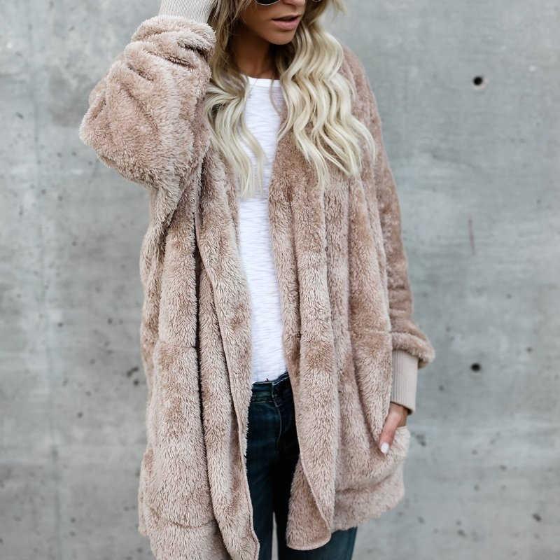 Donne di modo di Autunno di Inverno Della Peluche Con Cappuccio Sweatershirt Cappotti A Maniche Lunghe Caldo Cardigan Outwear Giacca Blusas Più Il Formato 3XL