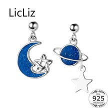 LicLiz New 2019 S925 Sterling Silver Blue Moon Star Planet Drop Earring for Women White Gold Hollow Stars Jewelry Dating LE0561